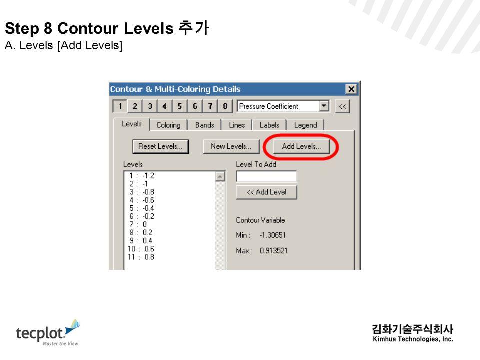 Step 8 Contour Levels 추가 A. Levels [Add Levels]